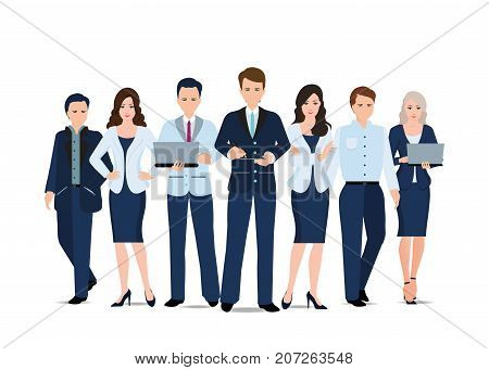 Business team isolated on white background business people in cartoon flat stye vector illustration.