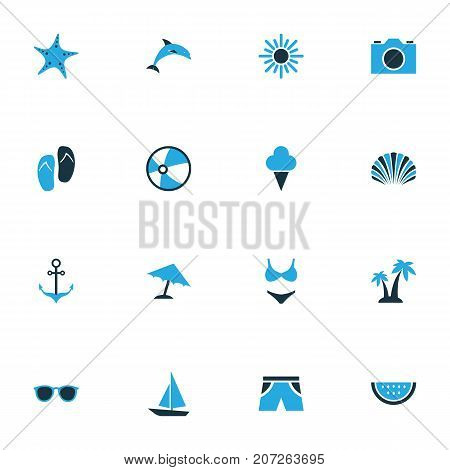 Summer Colorful Icons Set. Collection Of Shorts, Ball, Camera And Other Elements