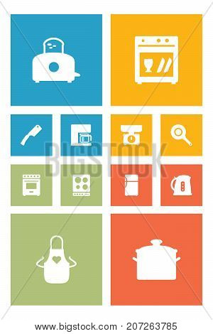 Collection Of Refrigerator, Cooker, Kitchen Ax And Other Elements.  Set Of 12 Kitchen Icons Set.