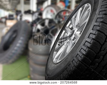 Close up tyre for sell in the carshop