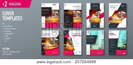 Set of cover design template for brochure, report, catalog, magazine or booklet. Creative magenta vector background concept