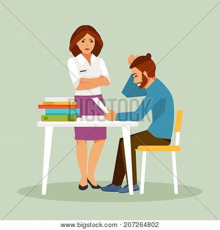 Strict boss and employee guilty. Error correction. Business situation. Vector illustration