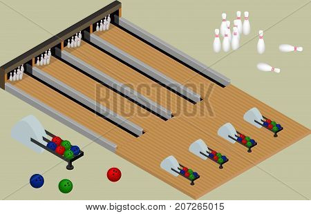 Isometvric bowling center. Bowling balls skittles lanes isolated in vector