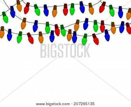 String of Color christmas light bulbs isolated on white.Vector illlustraton