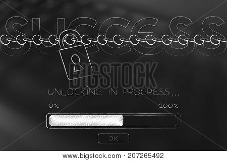 Success Text With Lock And Chain And Progress Bar Loading