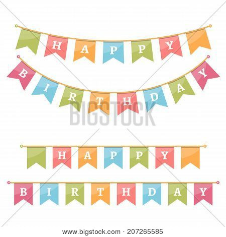 Bunting for happy birthday on white background, vector eps10 illustration