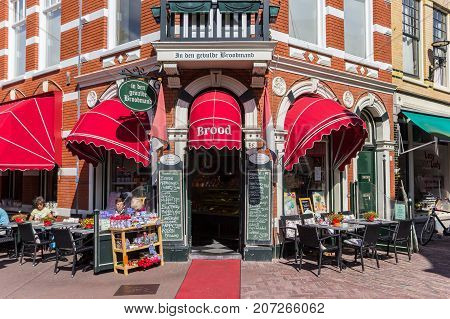 HAARLEM, NETHERLANDS - SEPTEMBER 03, 2017: Little colorful bakery shop in the center of Haarlem Netherlands