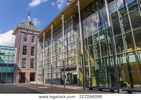 HAARLEM, NETHERLANDS - SEPTEMBER 03, 2017: Tower and glass facade of the courthouse in Haarlem Netherlands