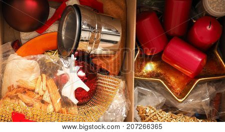 Christmas decoration utensils in a cardboard box using as background