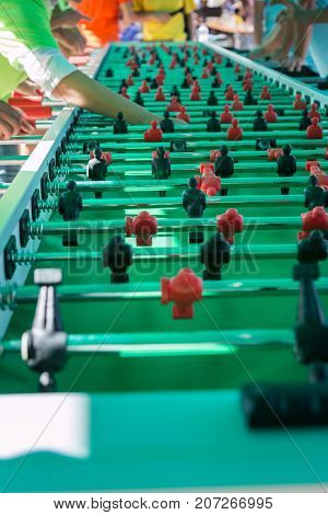 Very Long Table Football Game For Fifty Players Simultaneously