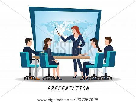 Business woman presenting world business on whiteboard with business people sitting on presentation at office business presentation conceptual vector illustration.