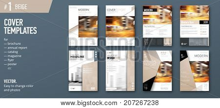 Set of business cover design template for brochure, report, catalog, magazine or booklet. Creative vector background concept. Beige poster