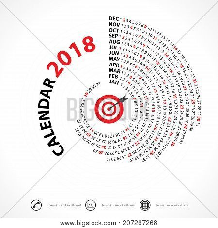 2018 Calendar Template.Spiral calendar.Calendar 2018. Set of 12 Months.Vector design stationery template.Week starts Monday.