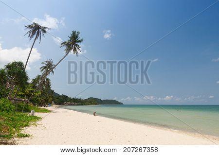 Tropical beach with blue sky ,Thailand .