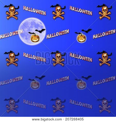 Halloween Gradient Background, Moon, Jack o' lantern, Burning Skull and Crossbones, Bats Flying, 3D, Template for American Holiday.