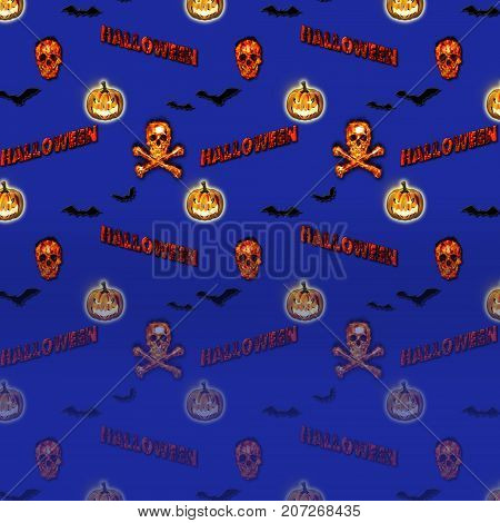 Halloween Gradient Background, Jack o' lantern, Burning Skull and Crossbones, Bats Flying, 3D, Template for American Holiday.
