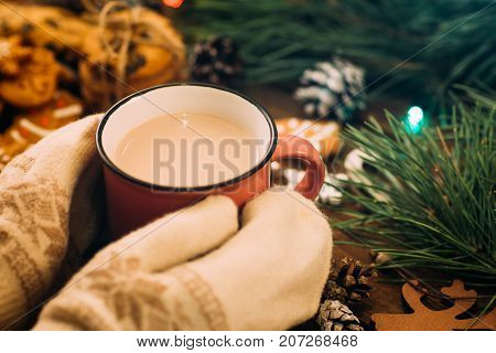 Warm Christmas holiday with latte and cookies. Close up unrecognizable woman with cup of drink in knitted gloves hands on festive background. Cozy xmas evening on festival and fairs concept