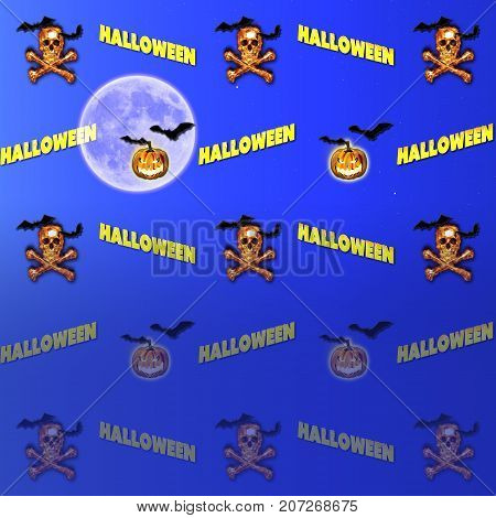 Halloween Gradient Background, Moon, Burning Skull and Crossbones, Bats Flying, Jack o' lantern, 3D, Template for American Holiday.