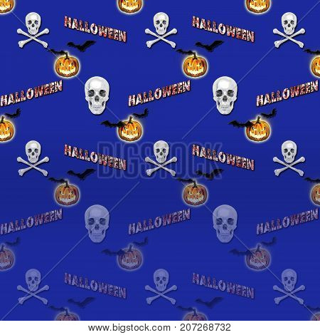 Halloween Gradient Background, Bats flying, White Skull and Crossbones, 3D, Jack o' lantern, 3D, Template for American Holiday.
