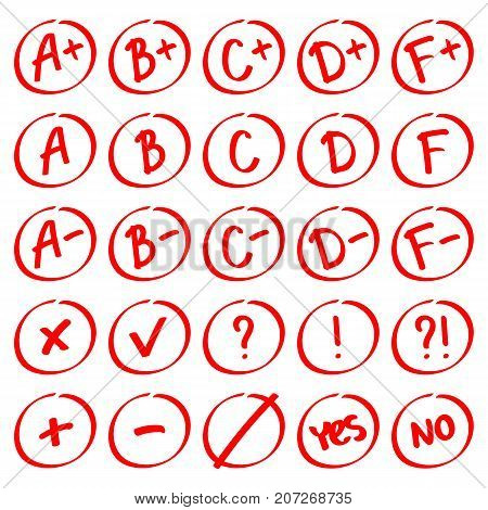 Grade results. Hand drawn vector set of grades with minuses and pluses in circle frame. Red notes: plus minus tick cross yes no interrogative and exclamation mark.