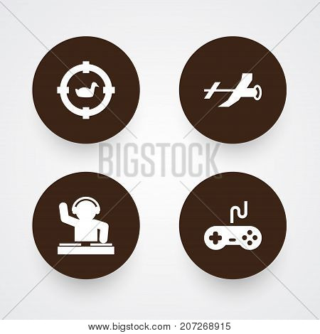 Collection Of Joystick, Target, Disco And Other Elements.  Set Of 4 Hobbie Icons Set.