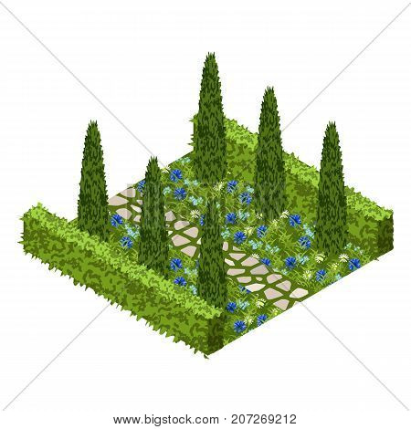 Garden vector asset with topiary bushes flowers grass and paved walk way. Isometric set vector illustration. Can be used to create garden scenes or landscapes in games