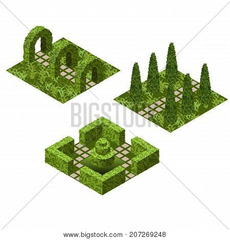 Garden isometric tile set. Asset with various bushes and grass to create topiary garden scenes. Vector illustration can be used in games landscapes etc.