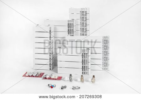 The thermal radiators and accessories isolated on a white background