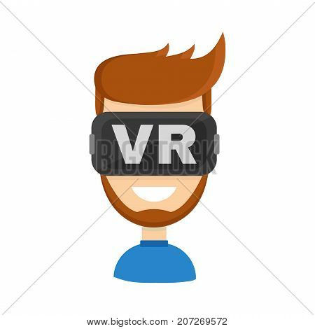 Happy man in virtual reality headset. teen boy or adult man in vr glasses. isolated on white background. Vector flat cartoon character illustration icon design. virtual reality concept. Video gamer poster