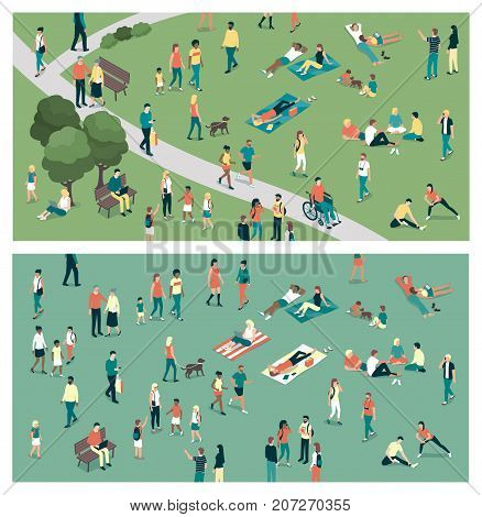 People gathering in the city urban park and relaxing in nature together community and lifestyle concept