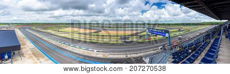 Buri RamThailand - September 23 2017 : The panoramic view of Buriram International Circuit or Chang international Circuit in Buriram Thailand on September 23 2017.