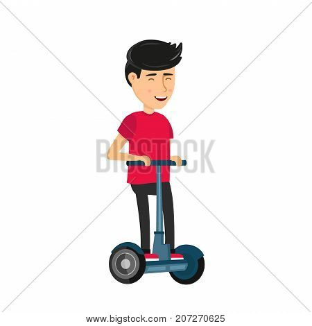 Self balancing electric scooter. Vector illustration icon design cartoon man character in modern flat style. Young man riding in Electric Scooter. Isolated on white background