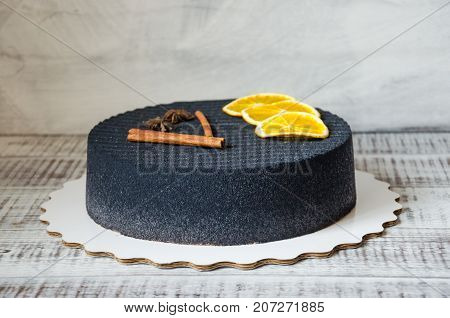 Black Chocolate Velour Cake With Dried Oranges And Cinnamon