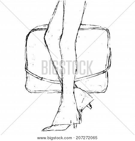Fashion sketch. Artistic grunge hand drawn illustration. Walking woman carrying a bag. Close-up two legs in a leggings pants.
