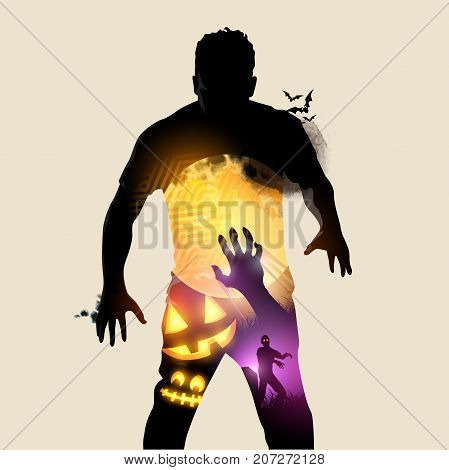 A rising halloween zombie double exposure effect vector illustration.
