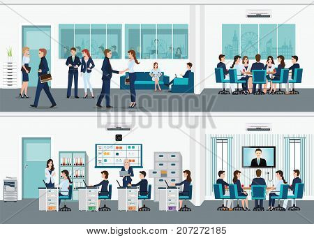 Modern office interior room with office desk and Business meeting or teamwork brainstorming in flat style vector illustration.