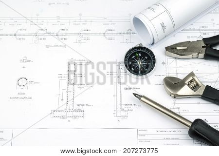 Engineer Construction Business Work Concept : Engineering Blueprint Diagrams Paper Drafting And Indu