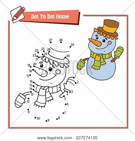 Vector illustration of dot to dot educational puzzle game with happy cartoon snowman character for children