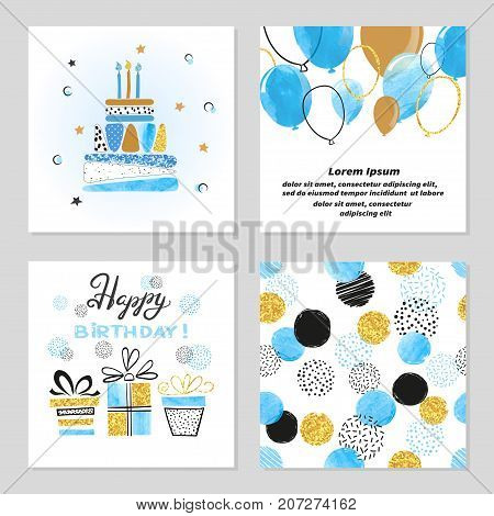 Happy Birthday cards set in blue and golden colors. Celebration vector illustrations with birthday cake balloons and gifts.
