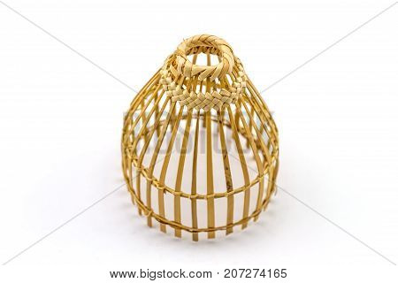 Close up bamboo Fishing trap on white background