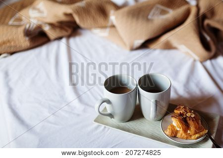 Morning Coffee On A Tray In Bed In Hotel