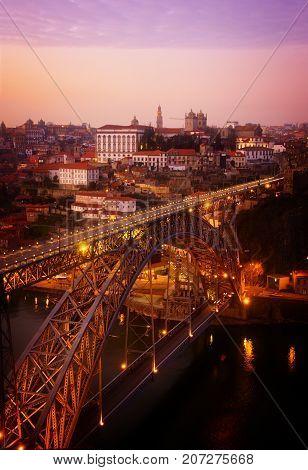 bridge of Dom Luis I in old Porto, Portugal, retro toned