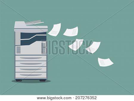 Working copier printer with paper document vector illustration