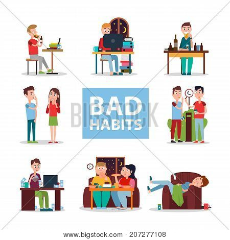 Bad habits poster vector illustration. People eat and work at night, go unhygienically, drink alcohol, smoke and live in mess.
