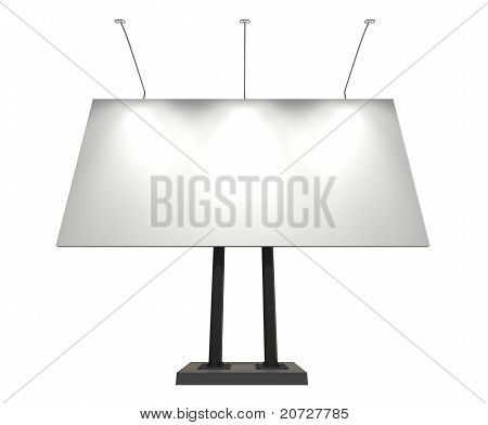 White Blank Board For Advertisement, Isolated On White, With Clipping Path
