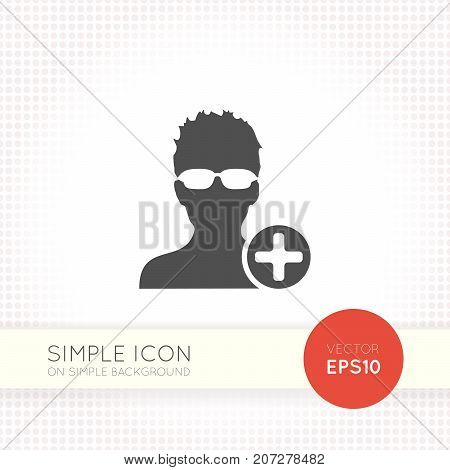 Add a friend flat style icon. New contact or Invitation button in social network or notebook app interfaces for invite friends. Shape vector isolated on simple white background.