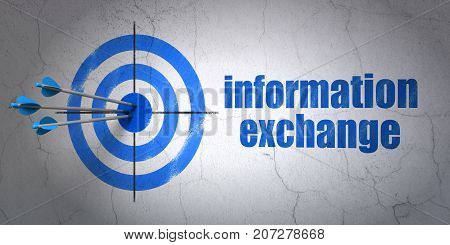 Success Information concept: arrows hitting the center of target, Blue Information Exchange on wall background, 3D rendering