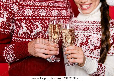Close Up Cropped Of Festive Friends With Stemware Of Martini Embrace Bonding, So Excited In Knitted
