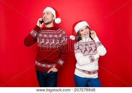 Merry X Mas! Happiness, December, Friendship, Winter, Congrats Time. Married Lovers Are Making Calls