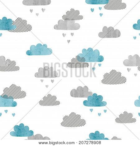Seamless vector clouds pattern. Rain of hearts.